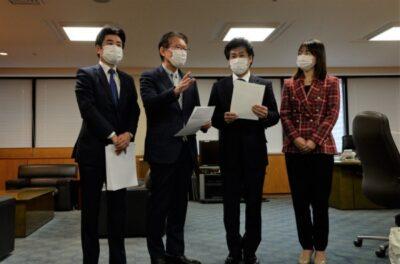 緊急事態宣言再発令に合わせた労働者の所得補償制度の拡充等を田村厚労大臣に申し入れ